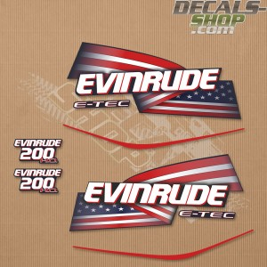 Evinrude 200HP E-tec HO Outboard Decal Kit