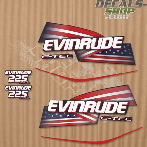 Evinrude 225HP E-tec HO Outboard Decal Kit