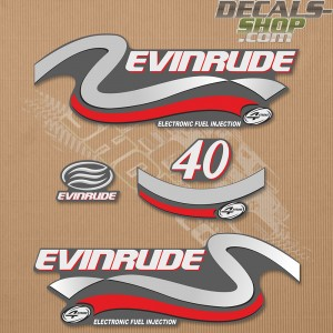 Evinrude 40HP Four Stroke Silver Outboard Decal Kit