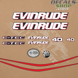 Evinrude 40HP E-tec Outboard Decal Kit