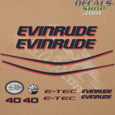 Evinrude 40HP E-tec White Cowl Outboard Decal Kit
