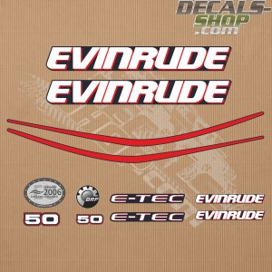 Evinrude 50HP E-tec Outboard Decal Kit