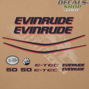 Evinrude 50HP E-tec White Cowl Outboard Decal Kit