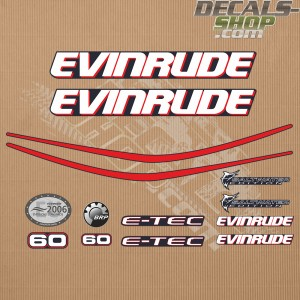 Evinrude 60HP E-tec Outboard Decal Kit