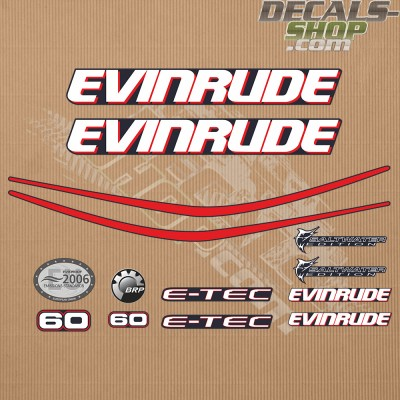 Evinrude 60hp E Tec Outboard Decal Kit
