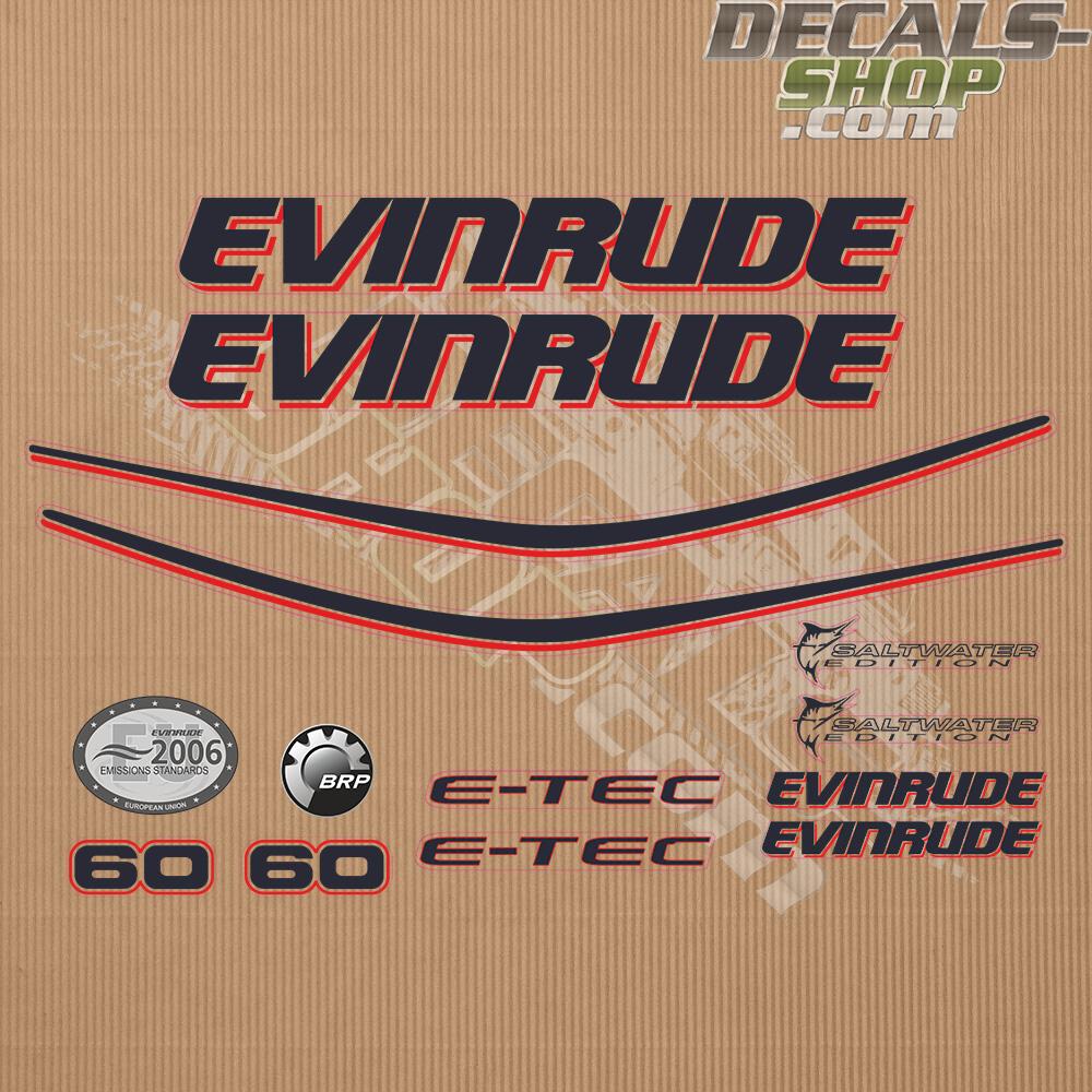 Evinrude 60hp E Tec White Cowl Outboard Decal Kit