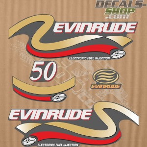 Evinrude 50HP Four Stroke Gold Outboard Decal Kit