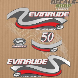 Evinrude 50HP Four Stroke Silver Outboard Decal Kit