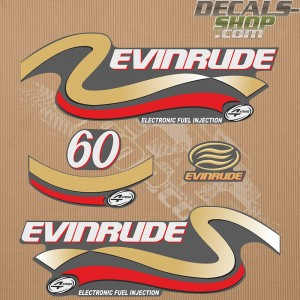 Evinrude 60HP Four Stroke Gold Outboard Decal Kit