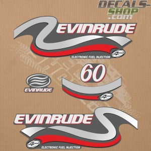 Evinrude 60HP Four Stroke Silver Outboard Decal Kit