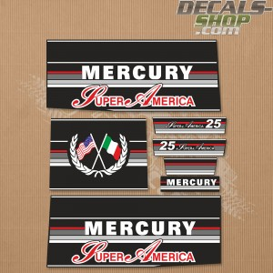 Mercury 25HP Super America Two Stroke Outboard Decal Kit