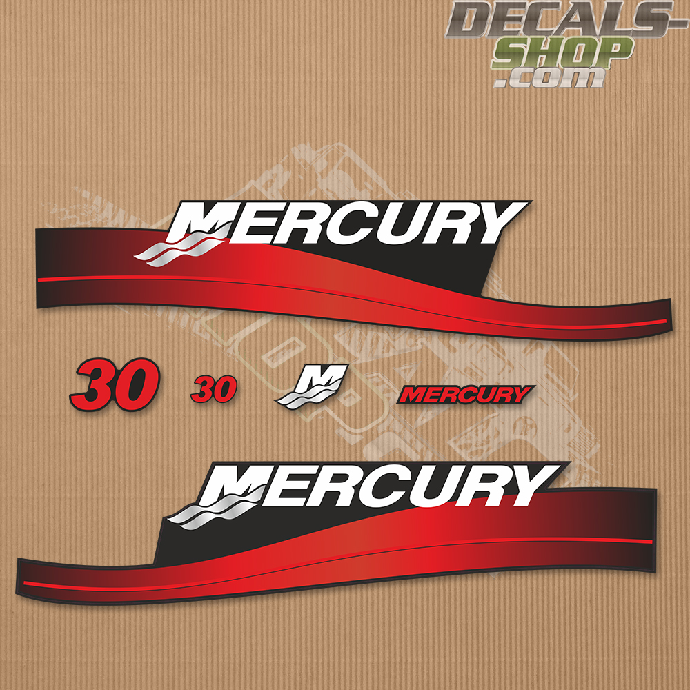 Mercury 30hp Two Stroke Outboard Decal Kit