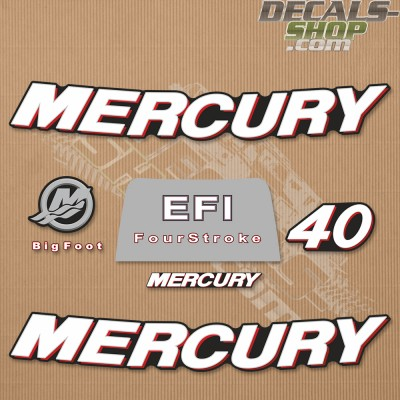 Mercury 40HP Four Stroke EFI 2006+ Outboard Decal Kit