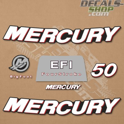 Mercury 50HP Four Stroke EFI 2006+ Outboard Decal Kit
