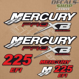 Mercury 175 HP EFI FreshWater outboard engine decal sticker RED set