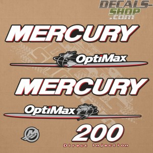 Mercury 200HP Optimax Direct Injection Outboard Decal Kit