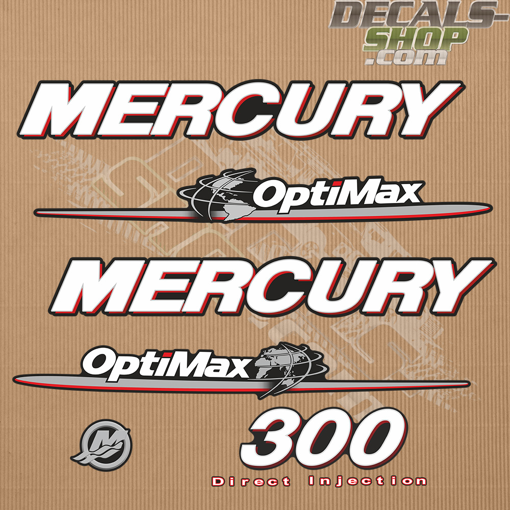 Mercury 300hp Optimax Direct Injection Outboard Decal Kit