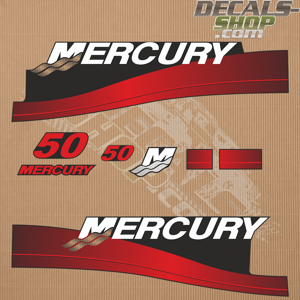 Mercury 50hp Two Stroke 2006 Outboard Decal Kit