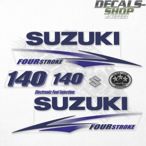 Suzuki DF140 140hp Four Stroke White Cowling - 2010 - 2013 Outboard Decal Kit Blue
