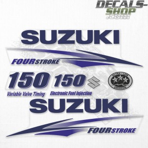 Suzuki DF150 150hp Four Stroke White Cowling - 2010 - 2013 Outboard Decal Kit Blue