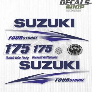 Suzuki DF175 175hp Four Stroke White Cowling - 2010 - 2013 Outboard Decal Kit Blue