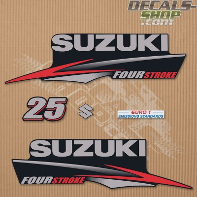 Suzuki DF25 25hp Four Stroke - 2010 - 2013 Outboard Decal Kit