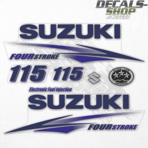 Suzuki DF115 115hp Four Stroke - 2010 - 2013 Outboard Decal Kit Blue