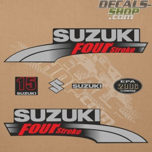 Suzuki DF15 15hp Four Stroke - 2003 - 2009 Outboard Decal Kit